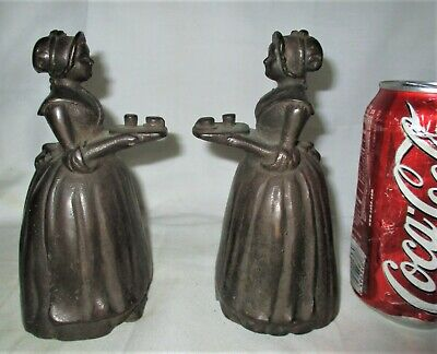 Antique Candy Baker Chocolate Lady Cast Iron Home Art Statue Sculpture Bookends
