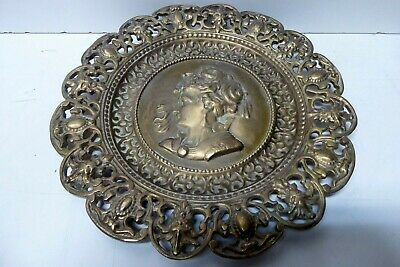 Old Brass Wall Plate Embossed Ladies Head Ornate Decorative Casting Queen