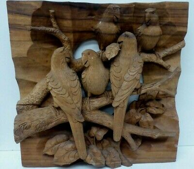 Vintage Carved Timber Panel Sculpture Australian Parrots Birds On Tree Branch