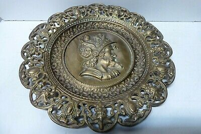 Old Brass Wall Plate Embossed Mans Head Ornate Decorative Casting King / Knight