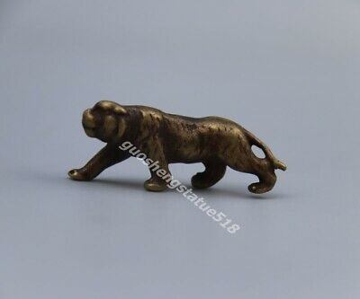 4.5 cm Bronze Chinese Zodiac Animal Lucky Wealth Tiger Amulet Necklaces Pendant