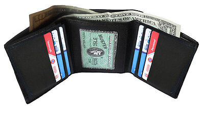 Black Genuine Leather Mens Trifold Wallet 7 Card ID Holder Case