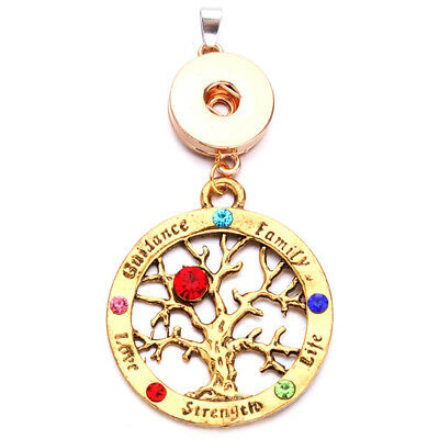 Tree of Life Charm Pendant Necklace Fit for 18mm Noosa Snap Button N186