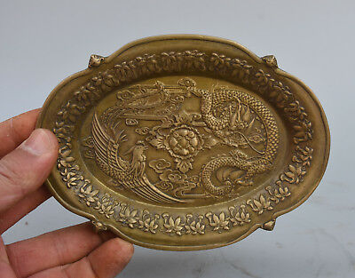 """6"""" Marked Chinese Pure Copper Bronze Flying Dragon Phoenix Statue Tray plate"""