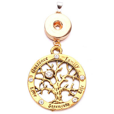 Tree of Life Charm Pendant Necklace Fit for 18mm Noosa Snap Button N184