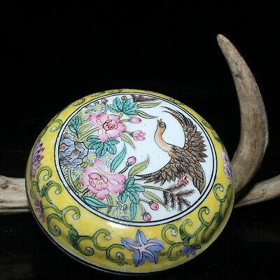 Old Chinese Handwork Cloisonne Copper Enamel Color Flowers & Bird Rouge Box