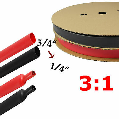 Black & Red Heat Shrink Tubing Kit Dual Wall Adhesive Wire Wrap Tube 3:1 Ratio