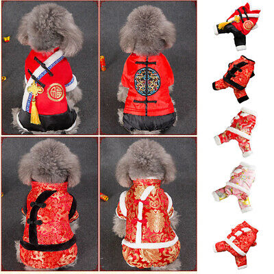 New Year Dog Clothes Winter Chinese Tang Suit Pet Cat Poodle Jacket Puppy Coat