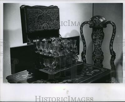 1964 Press Photo French Antique Liquor Cabinet on Display at Milwaukee Museum