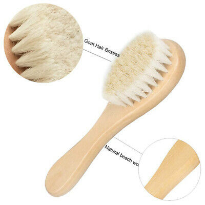 Extra Soft Newborn Baby Infant Care Hair Brush Wooden Handle Gentle Woolen Pins