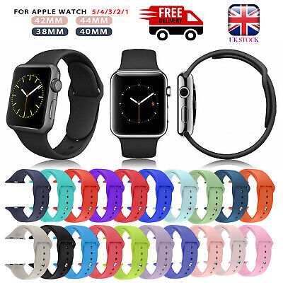 Silicone Sport Strap iWatch Band For Apple Watch Series 5/4/3/2/1 38/42mm UK
