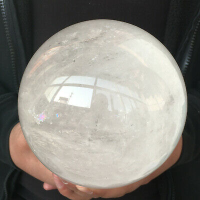 Natural White Crystal Ball Quartz Clear Crystal Sphere Healing 3020g