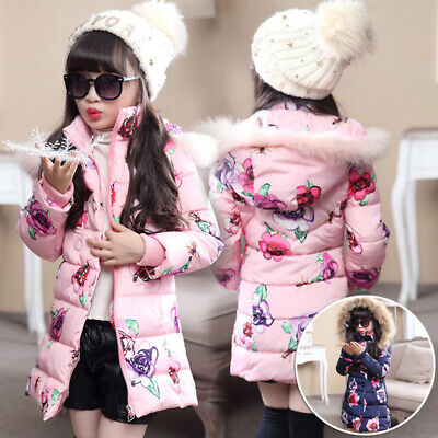Cotton down Jacket Coat Quilted Parka Puff coat Long Girls Floral Padded
