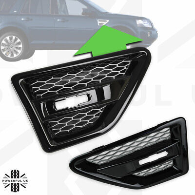 2x Gloss Black+Silver side wing air intake grille vent for Freelander 2 LR2 HST
