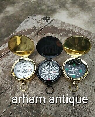 Antique Brass Marine Camping Compass Nautical Astrolabe Working Compass 3 Pcs G