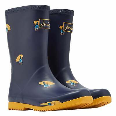 Joules Jnr Roll Up Girls Boots Wellington - Navy Ducks All Sizes