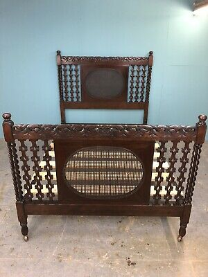 Fabulous Jacobean Style Carved Oak Double Bed With Cane Panels, Circa 1920
