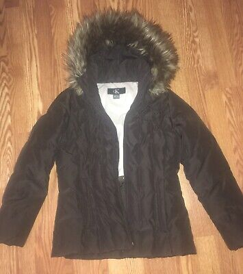 Calvin Klein Womens Brown Down Puffer Jacket. Size S. Removable Hood.