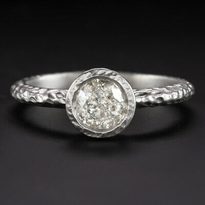 3/4 Carat Natural Diamond Ring White Gold Engagement Hammered Satin Rustic Bezel