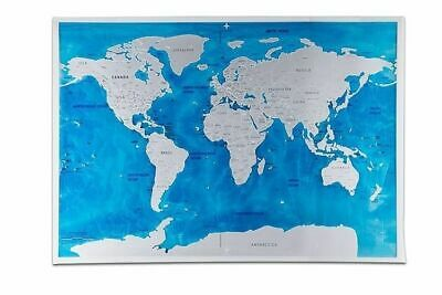 Deluxe Blue Ocean Scratch World Travel Map Tracker Atlas Decor Wall 81.5x57.5cm