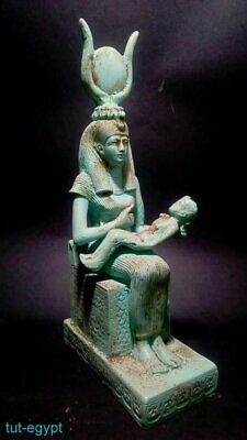 Isis Nursing Horus Statuette Royal Ancient Egypt Antiquity Rare Large Sculpture