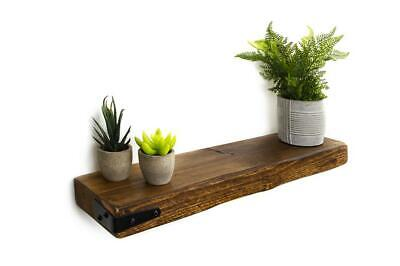 Rustic Floating shelf handmade With metal Corner strap 15cm deep 5 cm thick