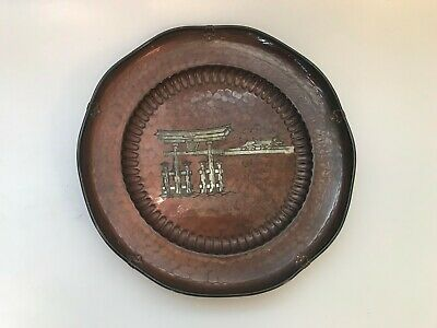 Antique Japanese Copper Hand Hammered Mixed Metal Silver Inlay Signed Plate