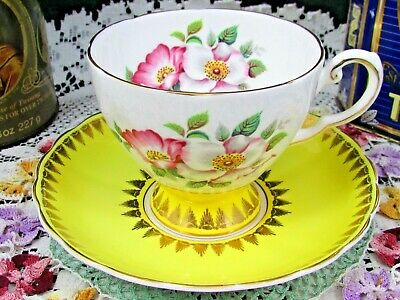 Tuscan Pink Blossoms Fancy Gold Bright Yellow Tea Cup And Saucer