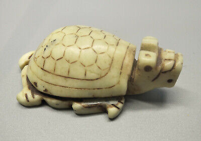 Chinese Exquisite Hand-carved old jade dragon turtle M053