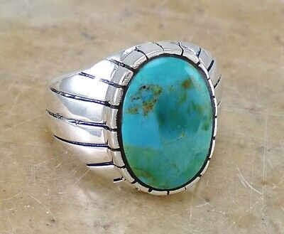 LARGE THICK MENS 925 STERLING SILVER TURQUOISE RING size 10  style# r2180