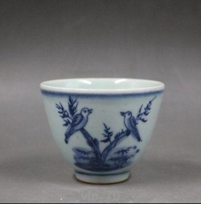 Old Chinese mark antique Qing Dynasty rare Blue and white Flower and bird Teacup