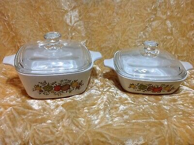 Corning Ware Spice Of Life Petite Pan Dish W New Glass Lid X 2 ~ P 41 B + P 43 B