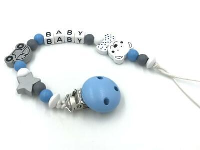 Personalized Dummy Clip Wooden Bead Blue boy Baby Pacifier Clip Holder Feeding