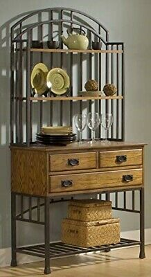 Home Styles Oak Hill Distressed Oak Bakers Rack with Hutch, Drawers, and Antiqu