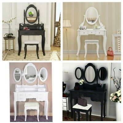 3/4/5/7 Drawer Dressing Table Makeup Dresser w/Mirror Cushioned Stool Bedroom UK