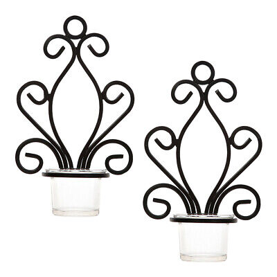 2Pcs Cast Iron Tealight Candle Holder Wall Mounted Antique Sconce Decor #2