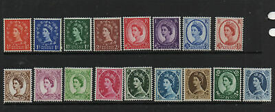 GB QEII Wildings Definitives 1960 crown wmk phosphor issue MNH Mint 17 stamps