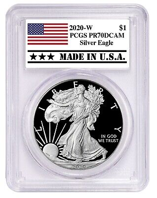 2020 W Silver Eagle Proof PCGS PR70 DCAM Made In USA Label