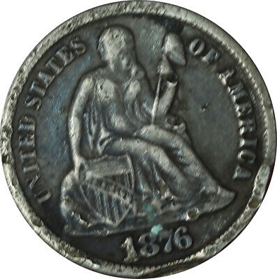 1876-CC Seated Liberty Dime VF Condition EF2