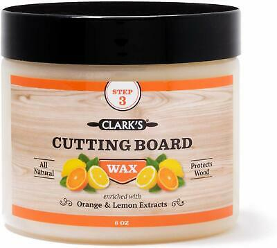 Cutting Board Finish Wax (6oz) by CLARK'S | Enriched with Lemon & Orange Oils