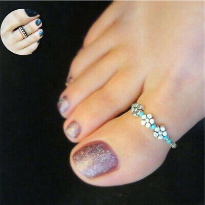 Barefoot Women Foot Rhinestone Finger Toe Ring Beach Celebrity Jewelry Girl