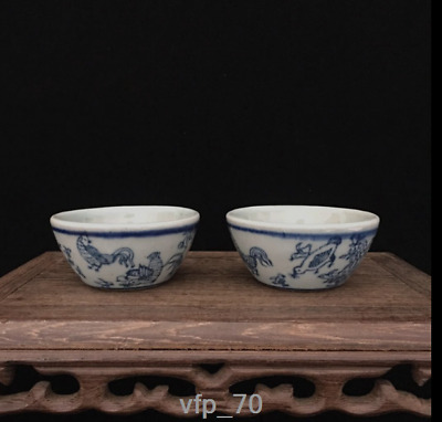 Old China mark  Kangxi Blue and white Cock A pair Cylinder cup