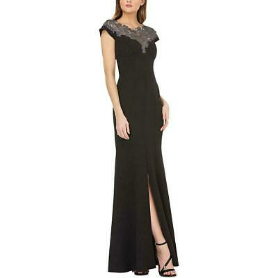 JS Collections Womens Dress Gray Black Size 16 Lace Applique Slit Gown $298 213