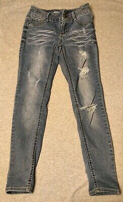 MUDD GIRLS Size 12 Blue Distressed Mid-Rise Jean Legging Jeggings