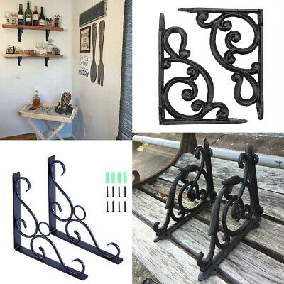 1 Pair Antique Cast Iron Garden Braces Rustic Shelf Bracket Kitchen Wall Support