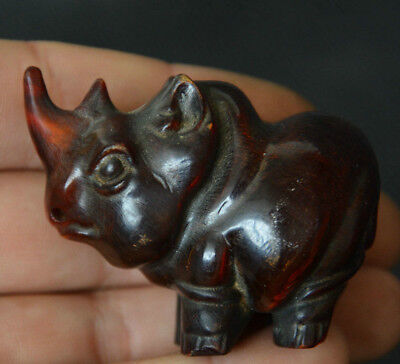 Old Chinese Oxen Horn Hand-Carved Fengshui Animal Xi Ox Rhinoceros Wealth Statue