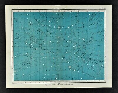 1855 Johnston Astronomy Star Map 15 Constellations Zodiac Andromeda Aquarius