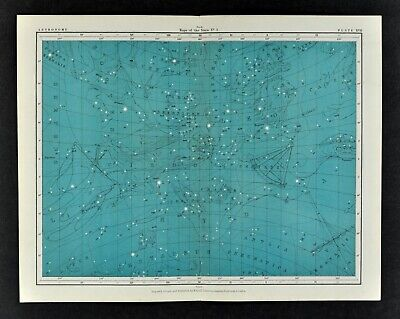 1855 Johnston Astronomy Star Map 17 Constellations Zodiac Virgo Leo Hydra Libra