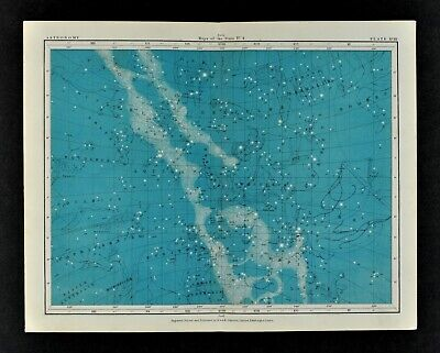 1855 Johnston Astronomy Star Map 18 Constellations Zodiac Milky Way Sagittarius