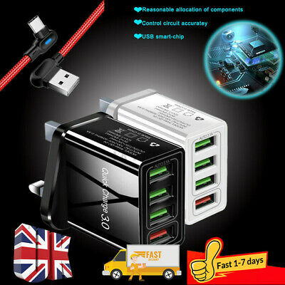 4 Multi-Port Fast Quick Charger QC 3.0 USB Hub Wall Charger Adapter Plug UK